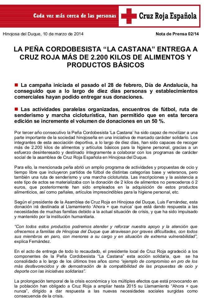 NP BALANCE RECOGIDA PEÑA CORDOBESISTA LA CASTANA